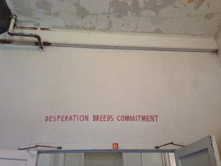 Before we walked into the artist talks, this text appears right above the entrance into the studios.